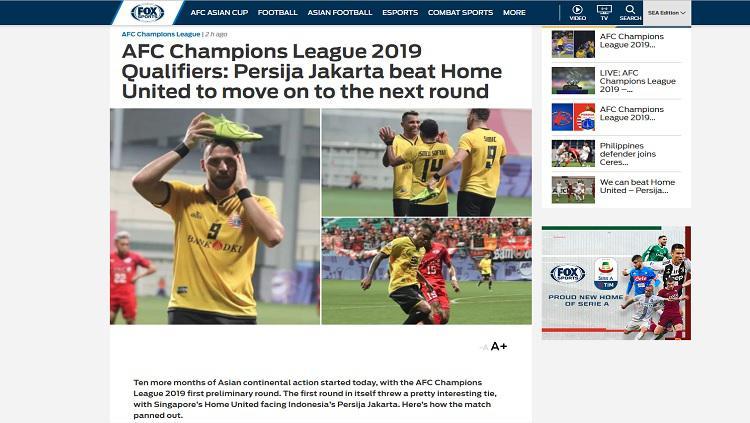 Fox Sports Asia soroti kemenangan Persija Jakarta atas Home United Copyright: Fox Sports Asia