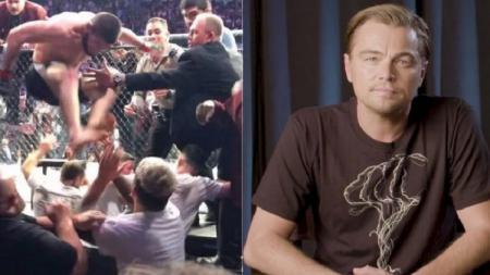 Leonardo DiCaprio turut menyaksikan laga Khabib Nurmagomedov vs Conor McGregor. - INDOSPORT