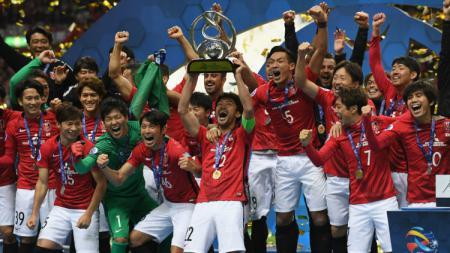 Pemain Urawa Reds Merayakan Juara Liga Champions Asia 2017. - INDOSPORT