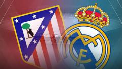 Indosport - Ilustrasi logo pertandingan Atletico Madrid vs Real Madrid.