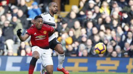 Selebrasi Anthony Martial (Manchester United) usai mencetak gol ke gawang Fulham. - INDOSPORT