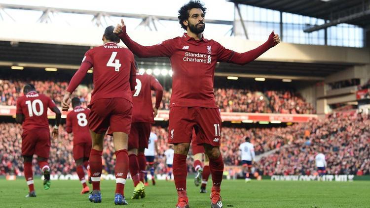 Mohamed Salah merayakan gol ke gawang Bournemouth. Copyright: Twitter @SkySportsStatto