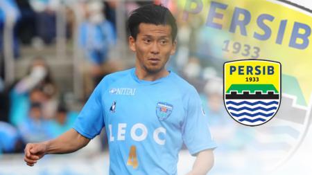 Masaki Watanabe dan logo Persib Bandung - INDOSPORT