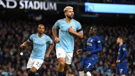 Aguero usai cetak hattrick ke gawang Chelsea - INDOSPORT