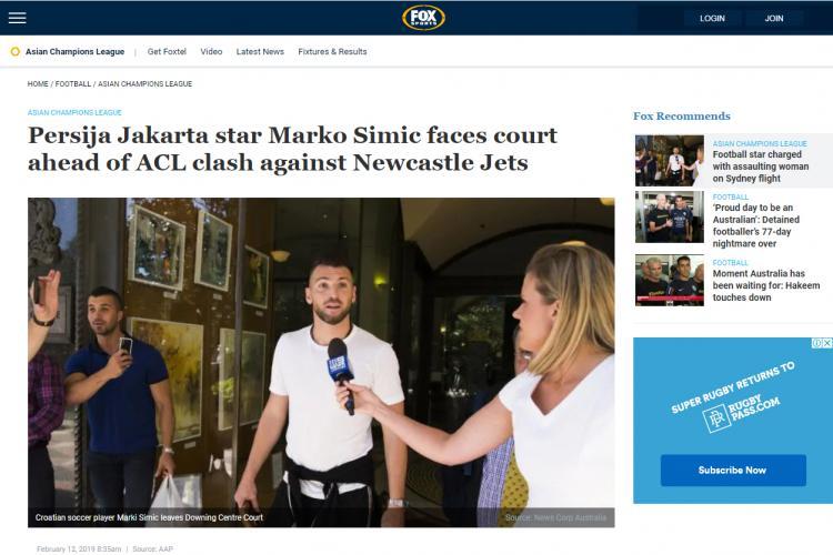 Pemberitaan dari Fox Sports soal dugaan tindakan tidak menyenangkan yang dilakukan Marko Simic jelang Liga Champions Asia. Copyright: foxsports.com.au