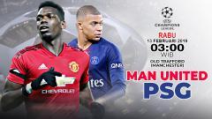 Indosport - Pertandingan Manchester United vs Paris Saint-Germain.