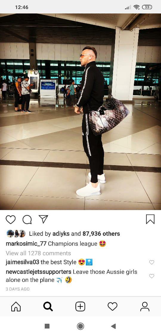 Kelompok suporter Newcastle Jets ejek Marko Simic di Instagram Copyright: Instagram/@markosimic_77