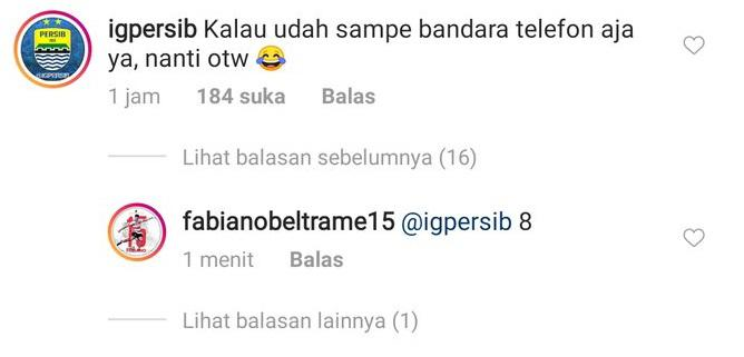 Balasan Fabiano terhadap komentar suporter Persib. Copyright: instagram