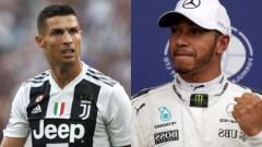 Indosport - Cristiano Ronaldo menyambangi Paddock Lewis Hamilton di sirkuit Monte Carlo