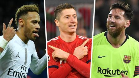 Neymar, Robert Lewandowski, Lionel Mess, top skor sementara Liga Champions 2018/2019, Februari 2019. - INDOSPORT