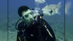 Indosport - Orlando Bloom saat sedang diving.