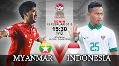 Indosport - Pertandingan Myanmar U-22 vs Indonesia U-22.