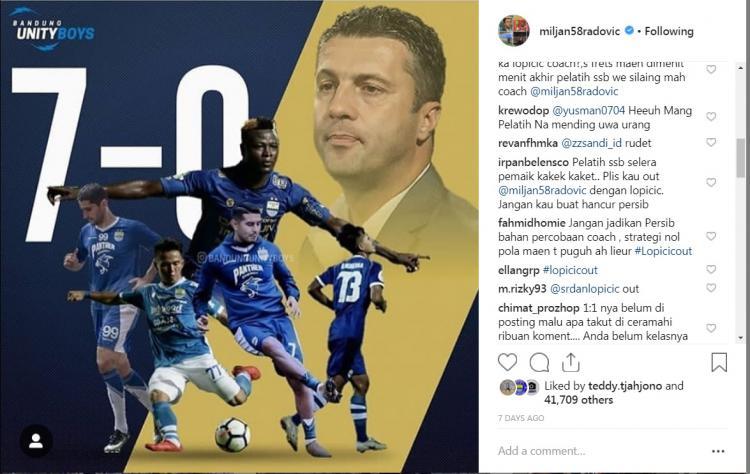 Akun Instagram Miljan Radovic diserang Bobotoh. Copyright: Instagram.com/Miljan58Radovic