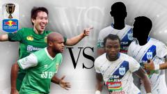 Indosport - Adu hebat pemain asing Bhayangkara vs PSIS Semarang di Kratingdaeng Piala Indonesia 2019.