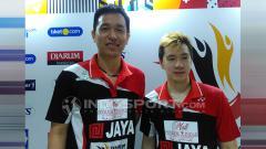 Indosport - Hendra Setiawan & Marcus Gideon di ajang Superliga Badminton 2019