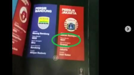 Buku program Piala Presiden salah tulis tahun berdiri Persija. - INDOSPORT