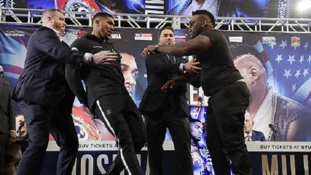 Anthony Joshua terlibat adu mulut dengan calon rivalnya Jarell Mirell - INDOSPORT