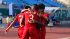 Indosport - Aksi selebrasi pemain Timnas Indonesia U-22