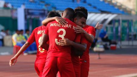 Aksi selebrasi pemain Timnas Indonesia U-22 - INDOSPORT