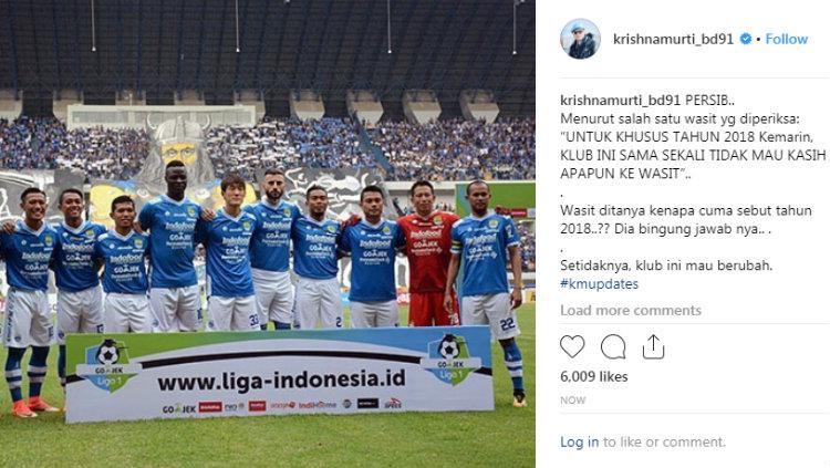Unggahan Waketum Satgas Anti Mafia Bola Krishna Murti soal tim sepak bola Indonesia yang tak menyuap wasit. Copyright: Instagram/@krishnamurti_bd9