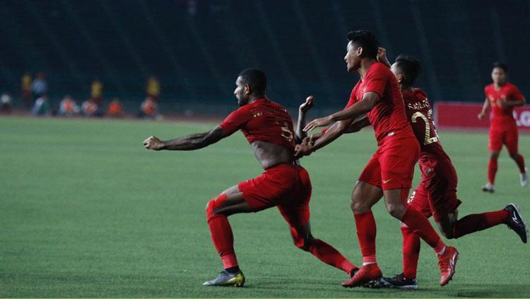 Aksi selebrasi pemain Timnas Indonesia usai Marinus mencetak gol Copyright: PSSI