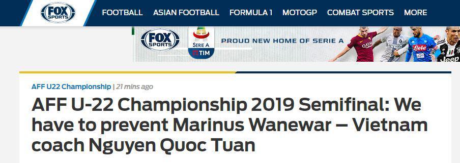 Berita Fox Sports Asia Tentang Vietnam vs Timnas Indonesia U-22 Copyright: www.foxsportsasia.com