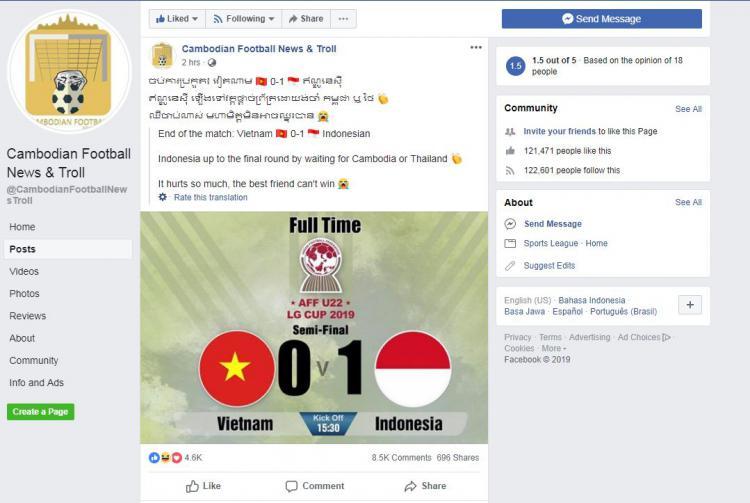 Fans Kamboja sedih Vietnam dikalahkan Indonesia. Copyright: facebook.com/CambodianFootballNewsTroll