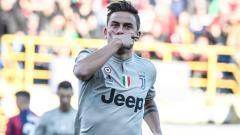 Indosport - Selebrasi Paulo Dybala usai mencetak gol di pertandingan Bologna vs Juventus, Minggu (24/02/19).