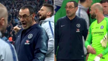 Maurizio Sarri marah-marah saat Kepa Arrizabalaga tidak mau diganti dalam pertandingan final Piala Liga Inggris, Chelsea vs Manchester City, Minggu (24/02/19). - INDOSPORT