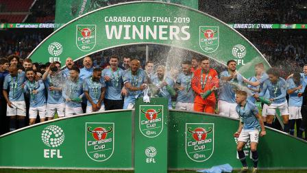 Aksi selebrasi Manchester City juara Piala Liga Inggris