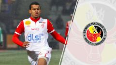 Indosport - Florent Zitte dan logo Semen Padang
