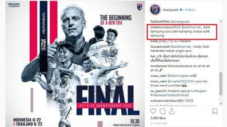 Akun instagram resmi Timnas Thailand diserbu netizen - INDOSPORT