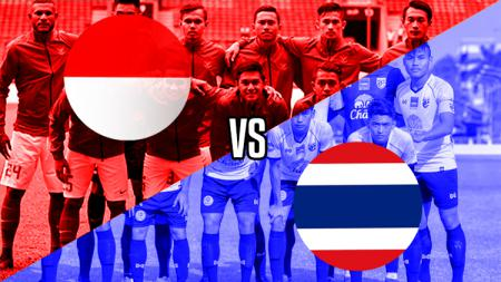Ilustrasi logo Timnas Indonesia U-22 vs Timnas Thailand U-22. - INDOSPORT