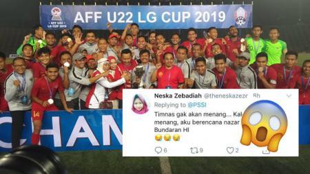 Seorang wanita bernazar mengejutkan jika Timnas U-22 juara Piala AFF U-22 2019. - INDOSPORT