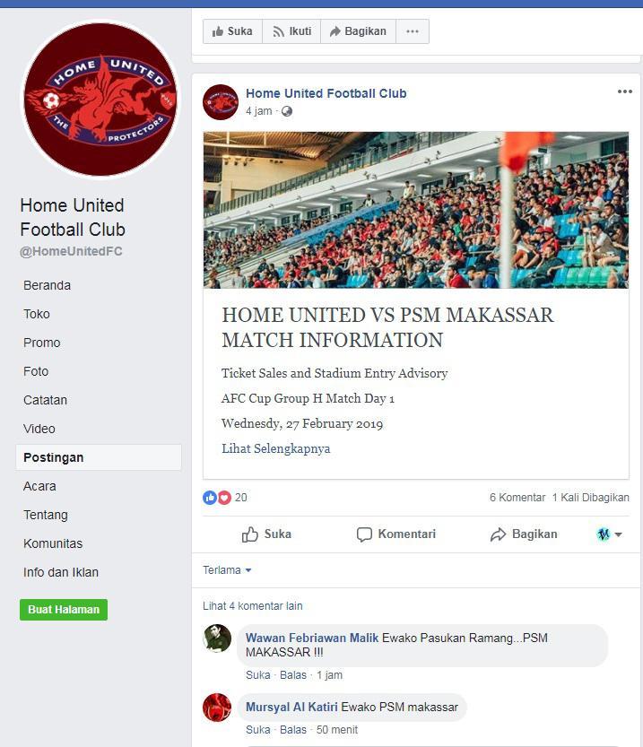 Fans Indonesia mulai memberi psywar ke laman media sosial Home United Copyright: Facebook