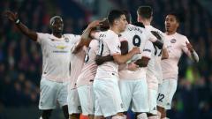 Indosport - Selebrasi pemain Manchester United saat berhadapan dengan Crystal Palace, Kamis (28/02/19).