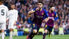 Indosport - Selebrasi gol Luis Suarez ke gawang Real Madrid di leg kedua Copa del Rey, Kamis (28/2/19).