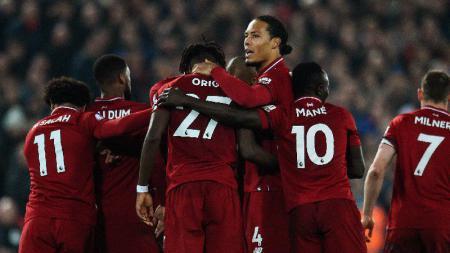 Selebrasi pemain Liverpool usai gol ke gawang Watford tercipta, Kamis (28/02/19). - INDOSPORT