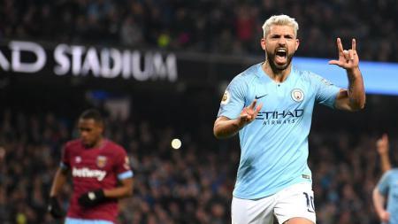 Sosok Sergio Aguero merupakan sang legenda terakhir dalam masa awal kejayaan Manchester City di ajang Liga Primer Inggris. - INDOSPORT