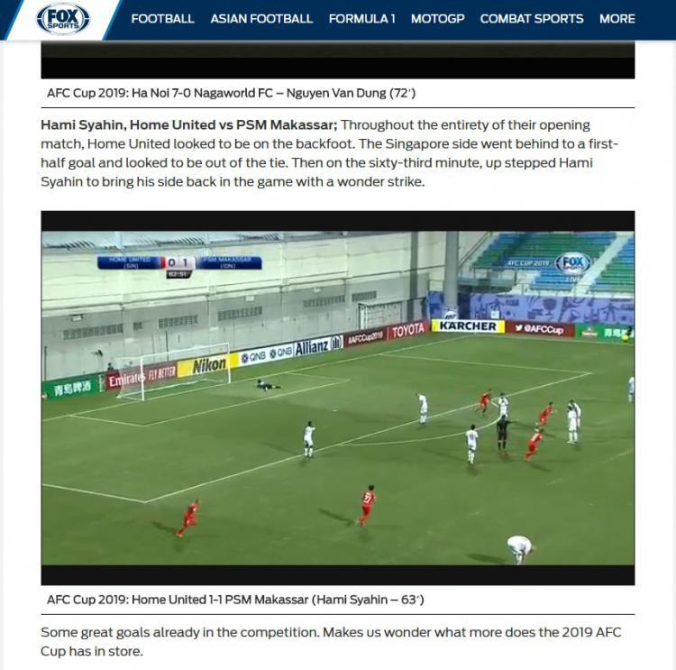 Laman media FoxSports masukan gol Home United sebagai salah satu gol terbaik Copyright: FoxSports