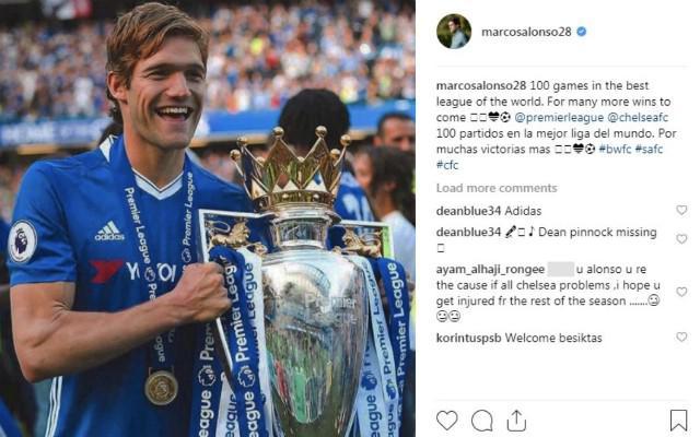 Salah satu postingan bek Chelsea, Marcos Alonso, yang menuai penghinaan dari penggemar Copyright: Instagram/Marcos Alonso