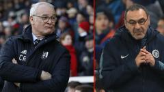 Indosport - Mantan pelatih Chelsea, Claudio Raneri dan Maurizio Sarri, pelatih Chelsea masa kini.