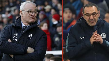 Mantan pelatih Chelsea, Claudio Raneri dan Maurizio Sarri, pelatih Chelsea masa kini. - INDOSPORT