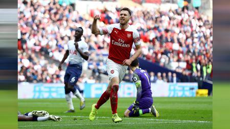 Selebrasi Aaron Ramsey saat mencetak gol - INDOSPORT