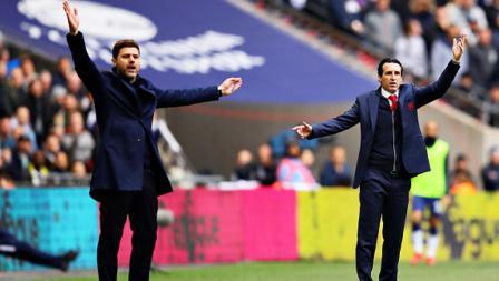 Arahan khas dari Pelatih Tottenham Hotspur, Mauricio Pochettino (kiri) vs Pelatih Arsenal, Unai Emery.