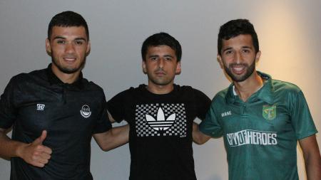 Tiga pemain asal Tajikistan Khurshed Beknazarov, Jamoliddin Zardiev dan Manuckhehr Dzhalilov. - INDOSPORT