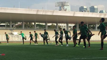 Latihan perdana Timnas U-22 usai juara Piala AFF U-22 2019. - INDOSPORT