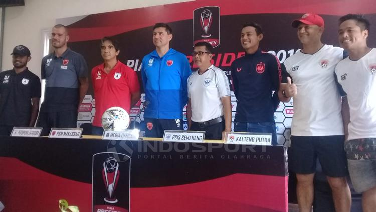 Persipura Jayapura, PSM Makassar, PSIS Semarang, dan Kalteng Putera dalam jumpa pers Piala Presiden Copyright: Ronald Seger/INDOSPORT