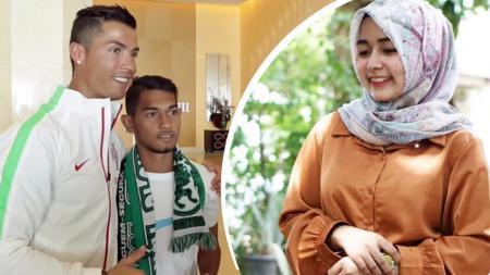 Anak angkat Cristiano Ronaldo, Martunis, mencoba menggota selebgram Aceh Laura Prasiska. - INDOSPORT