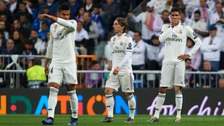 Real Madrid usai dibantai 4-1 oleh Ajax Amsterdam di leg kedua babak 16 besar Liga Champions, Rabu (06/03/19) dini hari WIB. - INDOSPORT